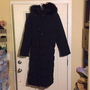 Anne Klein black long full length fur hooded coat